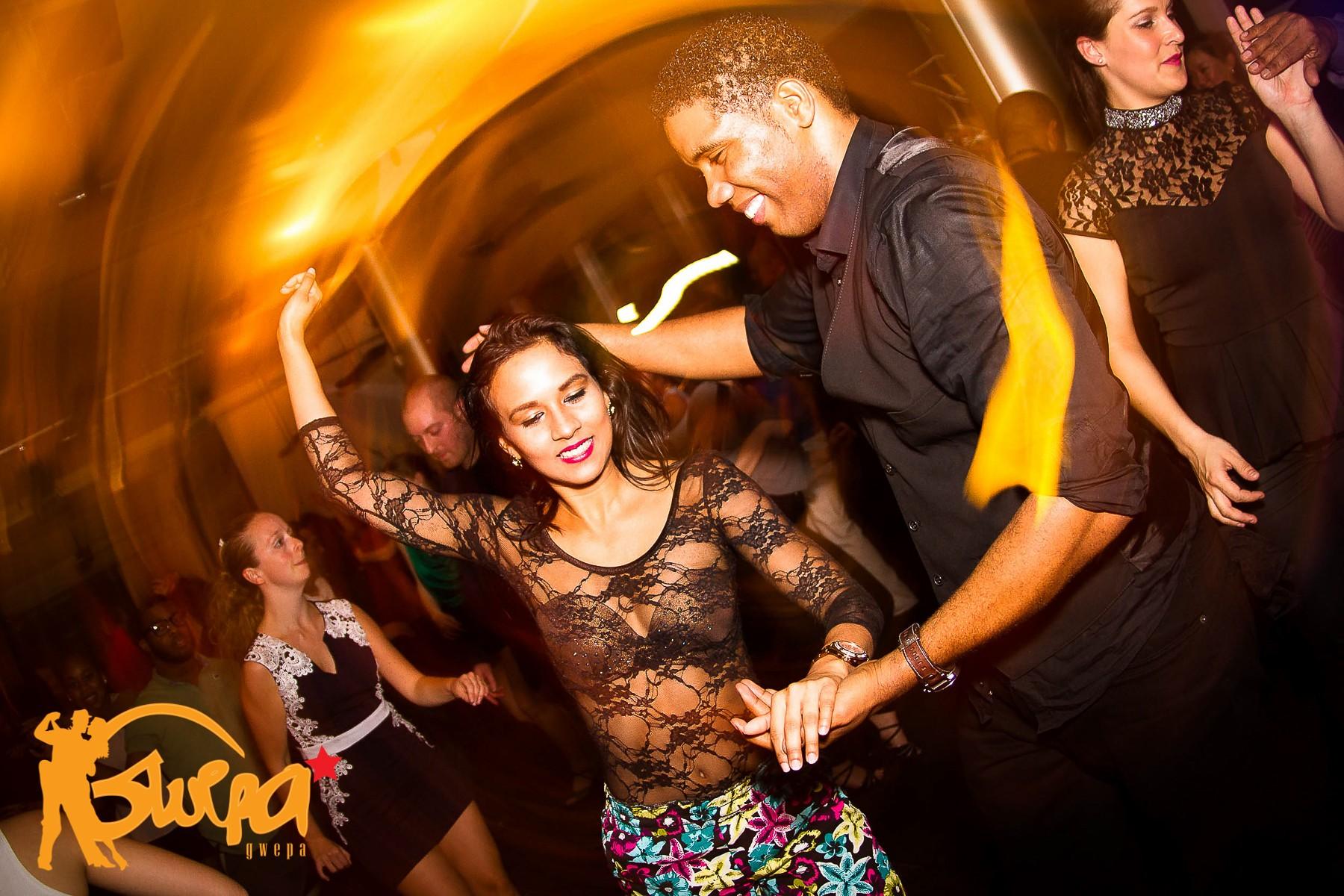 Happy salsa dance couple